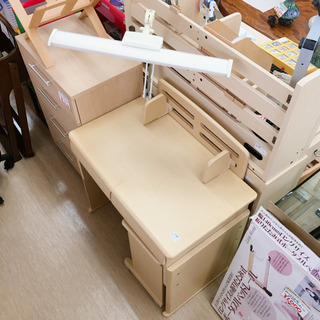 LEDデスクライト付!!コンパクト学習机☆小型で可愛い☆小…