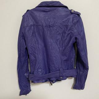ライダースジャケット 紫色 羊製品 S