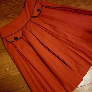プリーツスカート M オレンジ