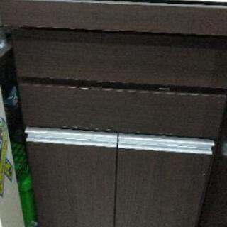 無料 キッチン 棚 ゴミ箱 収納 ブラウン