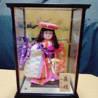 【ネット決済】日本人形 女の子 藤娘 梅幸作 ガラスケース入り