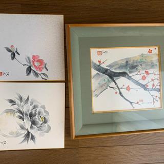 日本画(額縁+日本画3点)