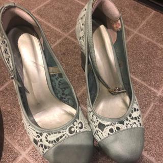 ミントグリーン、靴、高さ10センチ、夏靴、ヒール、L、24…