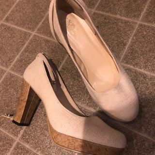 クリーム色、ホワイト靴、高さ10センチ、夏靴、ヒール、L、…