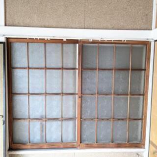 昭和レトロ 引戸 窓ガラス 木製サッシ ② 引き取り限定