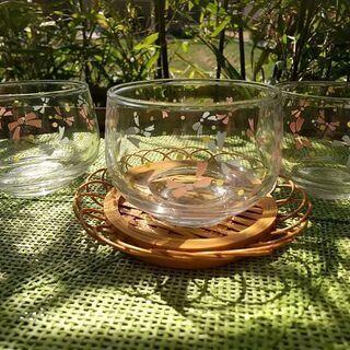 ガラス茶器 リボン柄 三個の画像