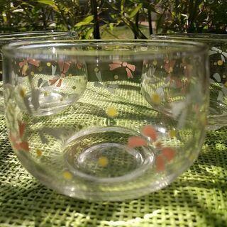 ガラス茶器 リボン柄 三個 - 富山市