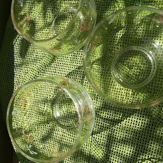 ガラス茶器 リボン柄 三個 - 生活雑貨
