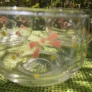 ガラス茶器 リボン柄 三個 − 富山県