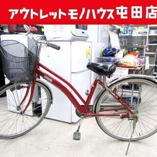 自転車 27インチ 赤系 FERMATA 切替なし シティサイク...