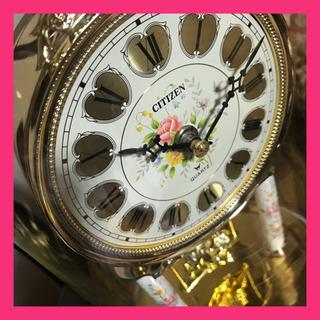 CITIZEN  振り子時計 お花と天使たち レトロ
