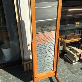 【キャスター付き姿見】木製 姿見 鏡 家具 ミラー