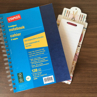 Staples/ステープルズ 3 subject notebook
