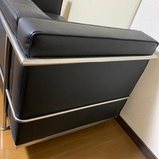 レザー生地ソファー 値下げ可能 - 家具