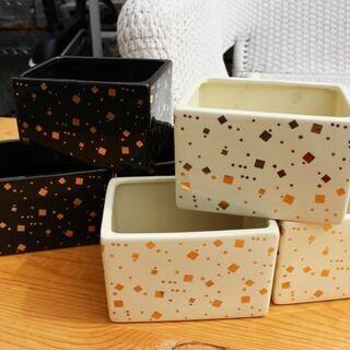 ★在庫多数!!未使用倉庫保管品 陶器フラワーボックス 黒/白6個...