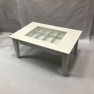 コレクションテーブル ローテーブル 座卓 ガラス ホワイト系 引...
