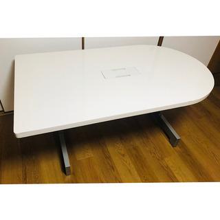 【配送対応地域あり】半楕円テーブル 分厚いテーブル 白テー…