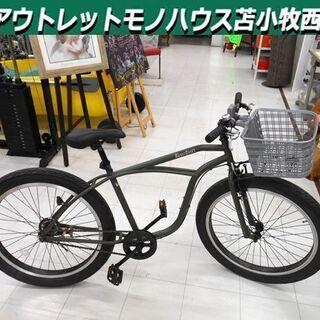 自転車 26インチ ビーチクルーザー セミファット 3インチタイ...