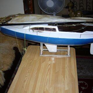 木製大型ヨット模型長さ93㎝高さ115cm