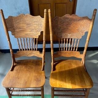飾り彫り 椅子 ヴィンテージチェア 2脚セット アンティーク