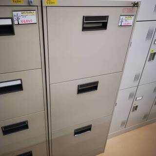 オフィス用ファイルキャビネット ワイドタイプ カギ付き