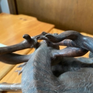 アンティーク 木彫り鹿オブジェ − 宮城県