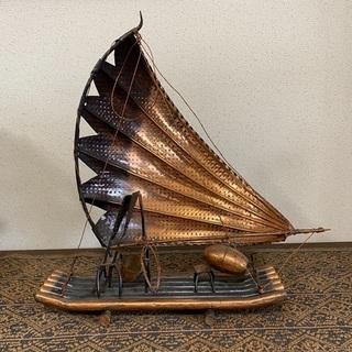 5/4まで アンティーク 銅板の船オブジェの画像
