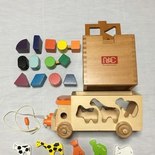 木製知育玩具 ブロック 車 パズル