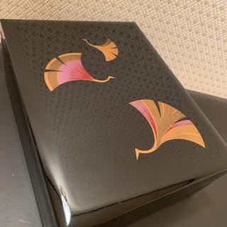 黒塗り   2段 蓋付き小物整理箱  漆器類