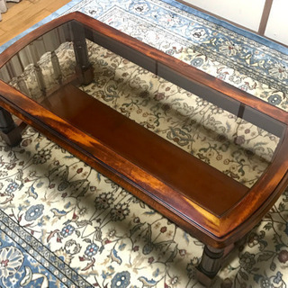 ローテーブル 木製/天面ガラス