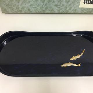 未使用 漆器 鮎 おぼん プレート サイズ幅約48cm 奥…