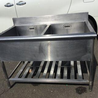 業務用 ステンレス 2槽シンク 流し台 厨房 キッチン バックガード
