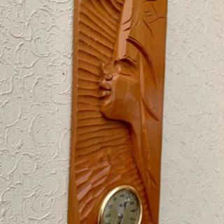 ピリカメノコ木彫り温度計 木彫りインテリア 室温計 アイヌ