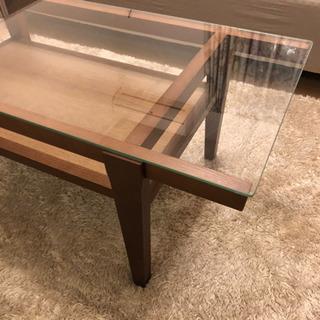 値下げ!木製 ガラステーブル