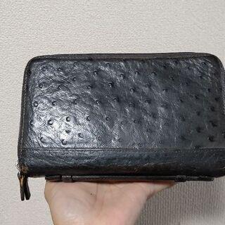 ダチョウ革オーストリッチグレー色・ダブルファスナー財布