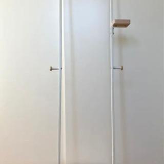 【美品】コンパクト スリムハンガーラック ホワイト×木目調