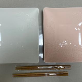 【未使用0円】【HANAE MORI】花水木 組皿 箸付き