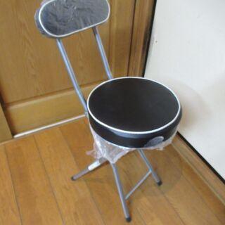 美品 折りたたみ パイプ椅子 チェア スツール 背付 ブラック ...
