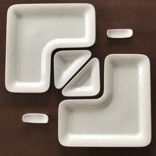 白山陶器 白磁さざ波L型パーティートレイ 森正洋作品