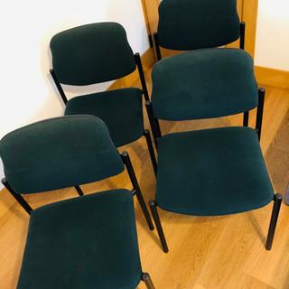 事務椅子 4脚セット 深緑