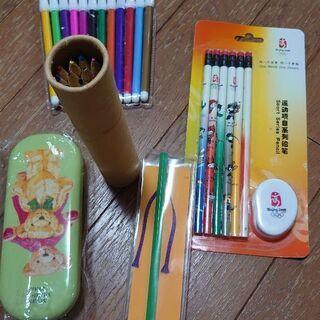 長期保管品の文房具 ペンケース/鉛筆/色鉛筆/色ペン/五角…