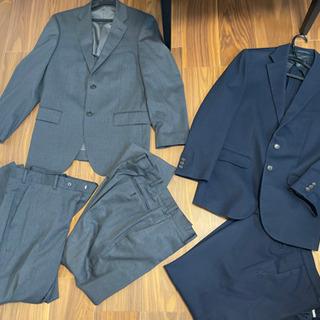スーツ2着 メンズストレッチスーツ ツーパンツ ウェスト82cm...