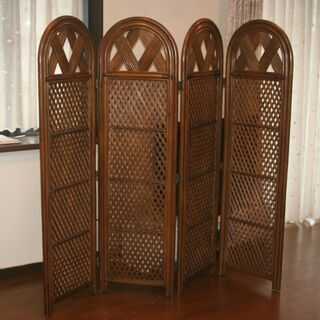 【ネット決済】パーテーション(衝立)4連 籐の家具