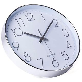 美品 Jomparis 壁掛け時計 おしゃれ シルバーホワイト ...