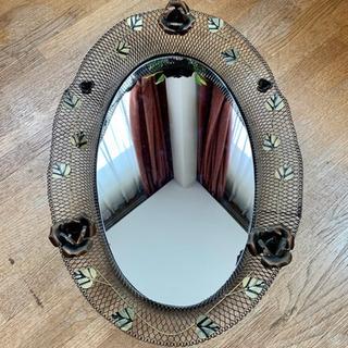 ウォールミラー 壁掛けインテリアミラー エレガント 鏡 バラデザ...