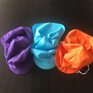 園児用 カラー帽子 日除けつき オレンジ 水色 紫色 記名あり
