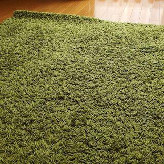 IKEA(イケア) ブライトグリーンパイル長ラグ絨毯・リビングル...