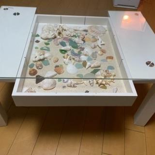 オシャレ棚付きガラス天板テーブル