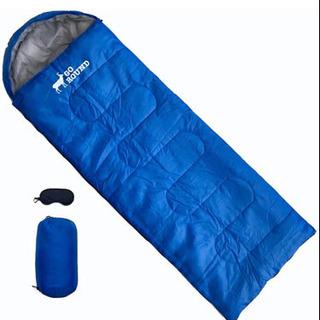 新品未使用 寝袋 シュラフ青色 封筒型 車中泊 災害 軽量収納袋...