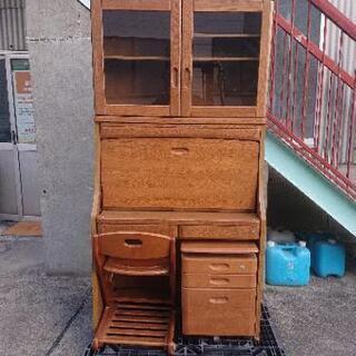 奥本木工所 ライティングデスク 椅子セット ダーク色